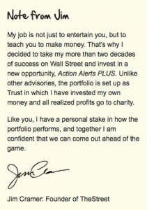Note From Jim Cramer