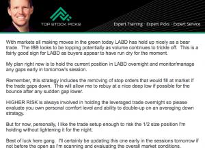LABD Update Before Market Close