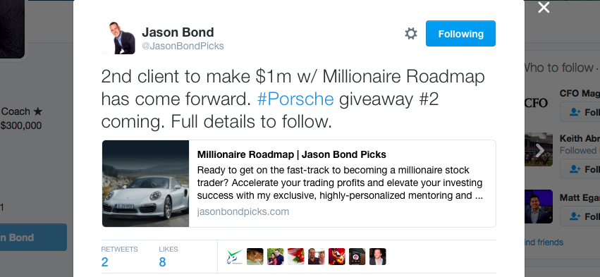 Jason Bond Second Millionaire Student