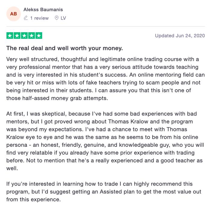 Thomas Kralow Trading Reviews and Testimonials