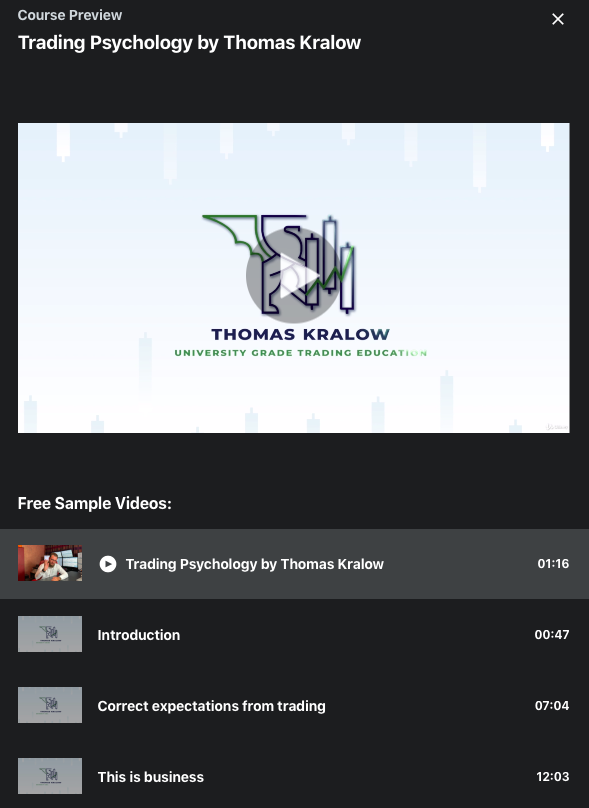 Trading Psychology Course By Thomas Kralow on Udemy
